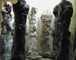 sculpture (terre cuite, grès et fer)